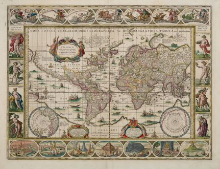 Antike Landkarten, Blaeu, Weltkarte, 1643-50: Nova Totius Terrarum Orbis Geographica ac Hydrographica Tabula auct: Guiljelmo Blaeuw.