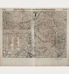 Beyde Stett Basel mit dem fürfliessenden Rhein und allen fürnemmen gebeüwen.