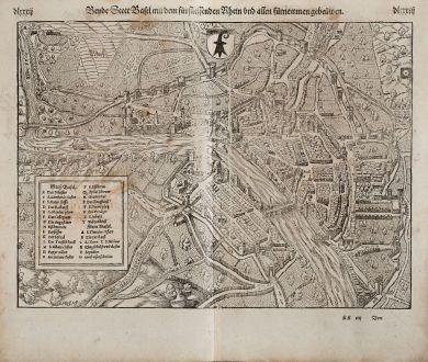 Antike Landkarten, Münster, Schweiz, Basel, 1574: Beyde Stett Basel mit dem fürfliessenden Rhein und allen fürnemmen gebeüwen.