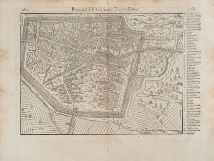Antike Landkarten, de Belleforest, Frankreich, Ile-de-France, Saint-Denis, 1575: Pourtraict de la ville Sainct Denis en France.