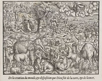 Grafiken, de Belleforest, Das Paradies mit Adam und Eva., 1575: De la creation du monde, & disposition que Dieu feit de la terre, & de la mer.