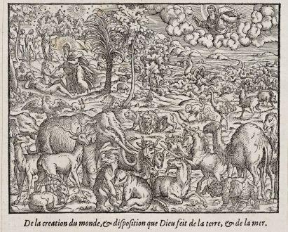 Grafiken, de Belleforest, Das Paradies mit Adam und Eva., 1575: De la creation du monde, & disposition que Dieu feit de la terre, & de la mer.
