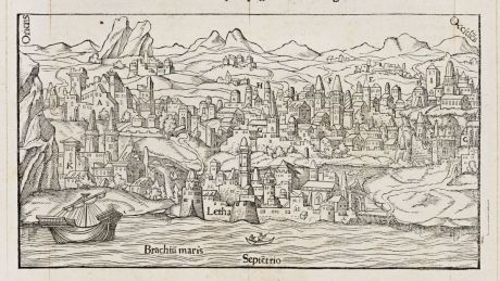 Antike Landkarten, de Belleforest, Britische Inseln, Schottland, Edinburgh, 1575: Alexandre Alesie Escossois, d'Edinbourg
