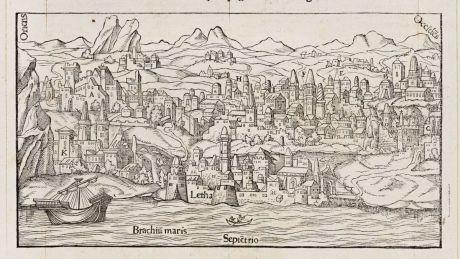 Antique Maps, de Belleforest, British Isles, Scotland, Edinburgh, 1575: Alexandre Alesie Escossois, d'Edinbourg