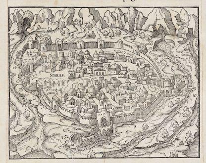 Antike Landkarten, de Belleforest, Frankreich, Languedoc-Roussillon, Perpignan: La Ville de Parpignan