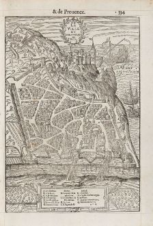 Antique Maps, de Belleforest, France, Provence, Nice, 1575: La Ville et Chasteau de Nice