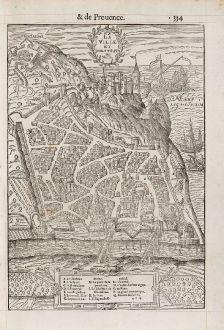 Antike Landkarten, de Belleforest, Frankreich, Provence, Nizza, 1575: La Ville et Chasteau de Nice