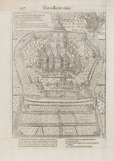 Antique Maps, de Belleforest, France, Bourgogne, Sennecey-le-Grand, 1575: Le Chasteau de la Baronnie de Senescey [Château de Ruffey]