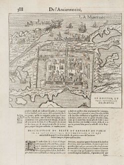 Antique Maps, de Belleforest, France, Calais, 1575: Le Dessein, et vray pourtraict de la ville de Calais