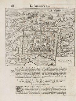 Antike Landkarten, de Belleforest, Frankreich, Calais, 1575: Le Dessein, et vray pourtraict de la ville de Calais