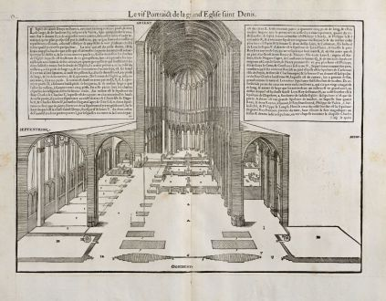 Graphics, de Belleforest, Basilica of St Denis, 1575: Le vif Portraict de la grand' Eglise Saint Denis