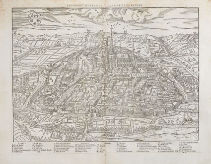 Antique Maps, de Belleforest, France, Centre-Val de Loire, Chartres, 1575: Pourtraict ou plan de la ville de Chartres