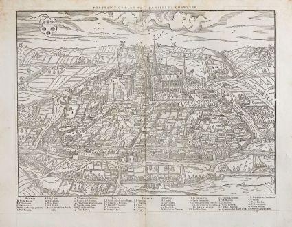 Antike Landkarten, de Belleforest, Frankreich, Centre-Val de Loire, Chartres: Pourtraict ou plan de la ville de Chartres