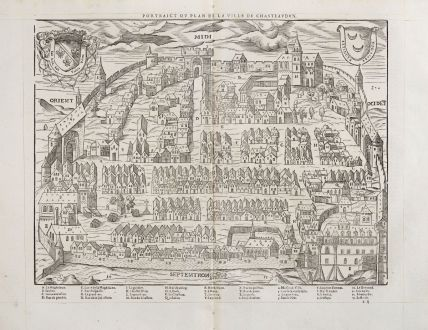 Antique Maps, de Belleforest, France, Centre-Val de Loire, Chateaudun, 1575: Pourtraict ou plan de la ville de Chasteaudun