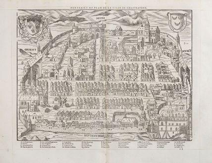 Antike Landkarten, de Belleforest, Frankreich, Centre-Val de Loire, Chateaudun: Pourtraict ou plan de la ville de Chasteaudun