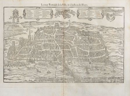 Antique Maps, de Belleforest, France, Centre-Val de Loire, Blois, 1575: Le vray Pourtraict de la ville,& Chasteau de Bloys