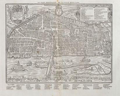 Antike Landkarten, de Belleforest, Frankreich, Centre-Val de Loire, Orleans: La Ville Cité et Universite d'Orleans / Le vray Pourtraict de la ville d'Orleans