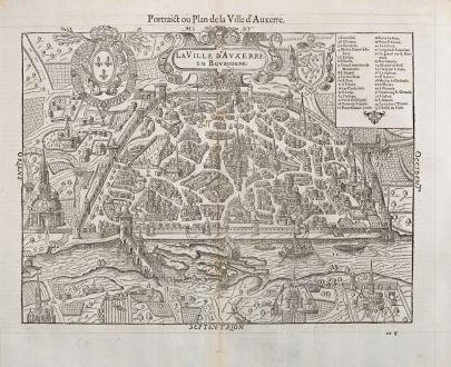 Antike Landkarten, de Belleforest, Frankreich, Bourgogne, Auxerre, 1575: La Ville d'Auxerre en Bourgogne / Pourtraict ou Plan de la Ville d'Auxerre
