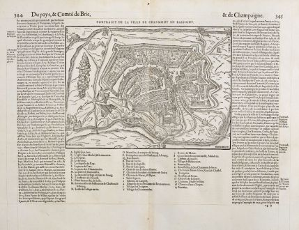 Antique Maps, de Belleforest, France, Champagne, Bassigny, Chaumont, 1575: Pourtraict de la ville de Chaumont en Bassigny