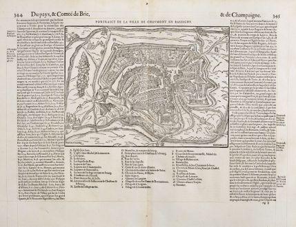 Antike Landkarten, de Belleforest, Frankreich, Champagne, Bassigny, Chaumont: Pourtraict de la ville de Chaumont en Bassigny