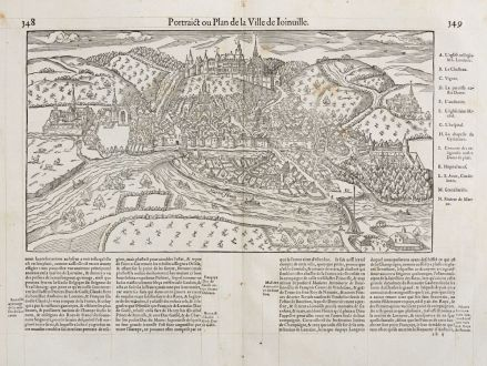 Antike Landkarten, de Belleforest, Frankreich, Ile-de-France, Joinville, 1575: Pourtraict ou Plan de la ville de Ioinuille