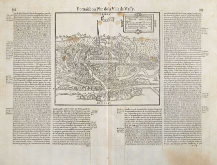 Antique Maps, de Belleforest, France, Champagne, Saint-Dizier, Wassy, 1575: Pourtraict ou Plan de la Ville de Vassy