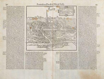 Antike Landkarten, de Belleforest, Frankreich, Champagne, Saint-Dizier, Wassy: Pourtraict ou Plan de la Ville de Vassy