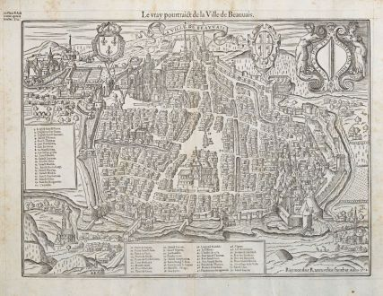 Antique Maps, de Belleforest, France, Picardie, Beauvais, 1575: La Ville d'Auxerre en Bourgogne / Pourtraict ou Plan de la Ville d'Auxerre