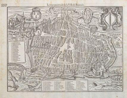 Antike Landkarten, de Belleforest, Frankreich, Picardie, Beauvais, 1575: La Ville d'Auxerre en Bourgogne / Pourtraict ou Plan de la Ville d'Auxerre