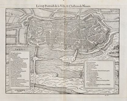 Antique Maps, de Belleforest, France, Bourgogne, Nevers, 1575: Le vray Pourtraict de la Ville,& Chasteau de Nevers.
