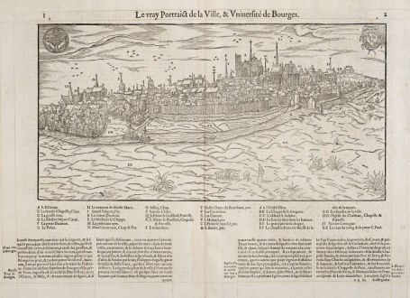 Antique Maps, de Belleforest, France, Centre-Val de Loire, Bourges, 1575: Le vray Pourtraict de la Ville, & Université de Bourges