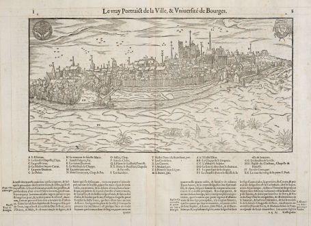 Antike Landkarten, de Belleforest, Frankreich, Centre-Val de Loire, Bourges: Le vray Pourtraict de la Ville, & Université de Bourges