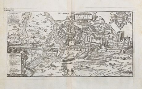 Antique Maps, de Belleforest, France, Centre-Val de Loire, Loches, 1575: La Ville et Chasteau de Loches