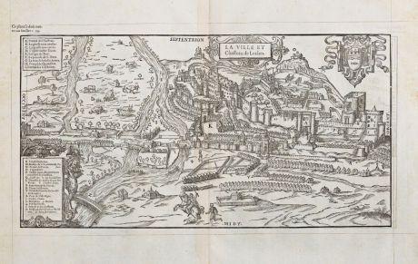 Antike Landkarten, de Belleforest, Frankreich, Centre-Val de Loire, Loches, 1575: La Ville et Chasteau de Loches