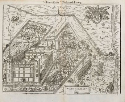 Antique Maps, de Belleforest, France, Centre-Val de Loire, Paulmy, 1575: Le Pourtrict du Chasteau de Paulmy [Le Château de Paulmy]