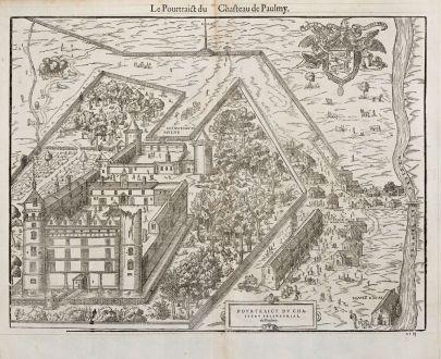 Antike Landkarten, de Belleforest, Frankreich, Centre-Val de Loire, Paulmy, 1575: Le Pourtrict du Chasteau de Paulmy [Le Château de Paulmy]