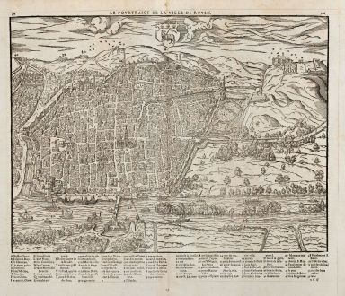 Antique Maps, de Belleforest, France, Normandie, Rouen, 1575: Le Pourtraict de la Ville Rouen