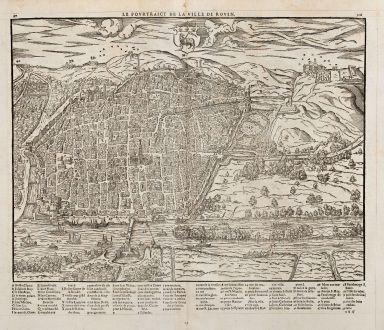 Antike Landkarten, de Belleforest, Frankreich, Normandie, Rouen, 1575: Le Pourtraict de la Ville Rouen