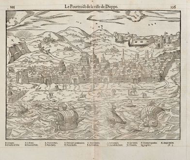 Antique Maps, de Belleforest, France, Normandie, Dieppe, 1575: Le Pourtraict de la ville Dieppe