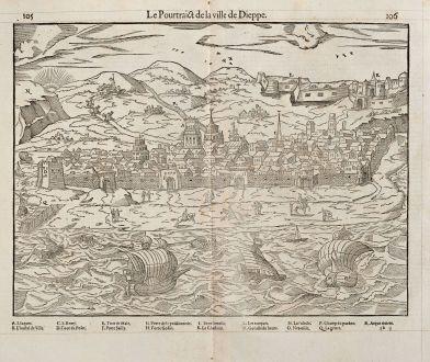 Antike Landkarten, de Belleforest, Frankreich, Normandie, Dieppe, 1575: Le Pourtraict de la ville Dieppe