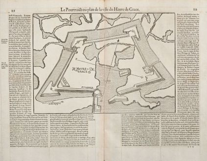 Antique Maps, de Belleforest, France, Normandie, Le Havre, 1575: Le Pourtraict ou plan de la ville Havre de Grace
