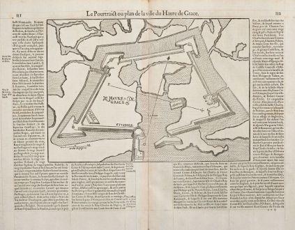 Antike Landkarten, de Belleforest, Frankreich, Normandie, Le Havre, 1575: Le Pourtraict ou plan de la ville Havre de Grace