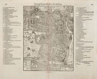 Antique Maps, de Belleforest, France, Normandie, Caen, 1575: Le vray Pourtraict de la Ville de Caen