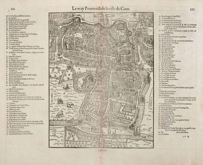 Antique Maps, de Belleforest, France, Normandie, Caen, 1575: Le vray Pourtraict de la Ville de Caen