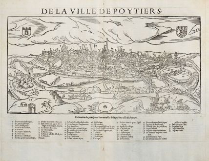 Antique Maps, de Belleforest, France, Poitou, Poitiers, 1575: De la Ville de Poytiers