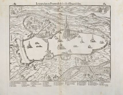 Antique Maps, de Belleforest, France, Poitou, Angouleme, 1575: Le vray plan ou Pourtraict de la Ville d'Engoulesme