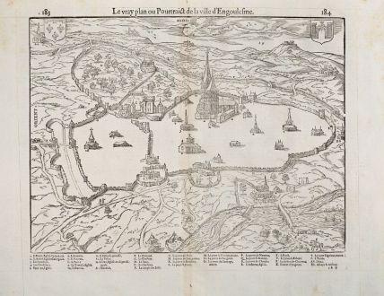 Antike Landkarten, de Belleforest, Frankreich, Poitou, Angouleme, 1575: Le vray plan ou Pourtraict de la Ville d'Engoulesme