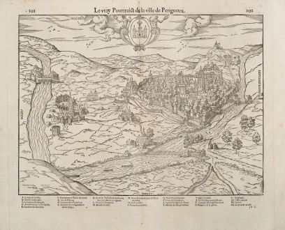 Antique Maps, de Belleforest, France, Aquitaine, Perigueux, 1575: Le vray Pourtraict de la Ville de Perigueux