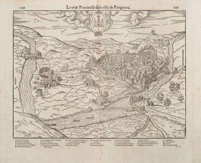 Antike Landkarten, de Belleforest, Frankreich, Aquitaine, Perigueux, 1575: Le vray Pourtraict de la Ville de Perigueux