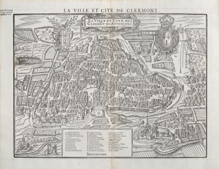 Antique Maps, de Belleforest, France, Auvergne, Clermont-Ferrand, 1575: La Ville et Cité de Clermot en Auvergne / La Ville et Cite de Clermont